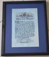 Antique FRAMED Masonic What is a Mason? poem