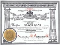 Scottish Rite Personalized Certificate