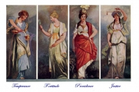 Temperance Fortitude Prudence Justice MASONIC Art Print Poster r